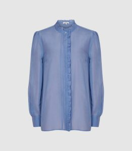Reiss Liddy - Ruffle Detailed Shirt in Blue, Womens, Size 16