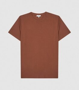 Reiss Bless - Regular Fit Crew Neck T-shirt in Rust, Mens, Size XXL