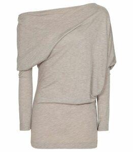 Reiss Norah - Drape Detail Top in Neutral, Womens, Size XL