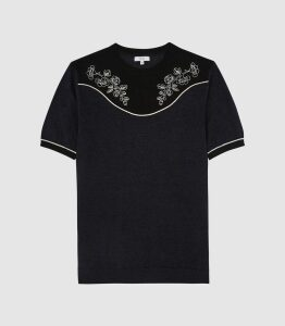 Reiss Missouri - Linen Blend Embroidered T-shirt in Navy/black, Mens, Size XXL