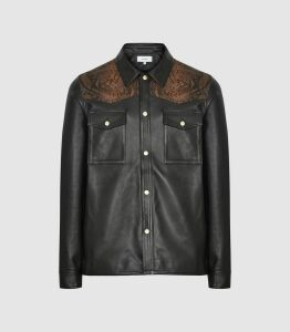 Reiss Diablo - Leather Jacket With Snake-effect Detail in Black/orange, Mens, Size XXL