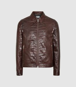 Reiss Cassius - Croc Embossed Leather Jacket in Bordeaux, Mens, Size XXL