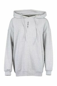 Womens Slogan Front Oversized Hoody - Grey - 14, Grey