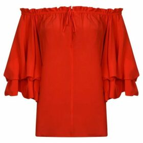 Diane Von Furstenberg Georganne Off The Shoulder Silk Top