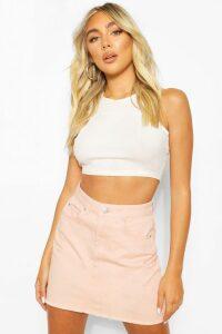 Womens Nude Frayed Hem Denim Micro Mini Skirt - Beige - 16, Beige