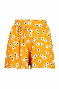 Womens Daisy Print Jersey Flippy Shorts - Orange - 14, Orange