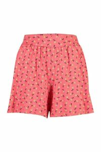 Womens Ditsy Floral Jersey Flippy Shorts - Red - 16, Red