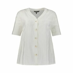 Draping V-Neck Blouse with Buttons and Short-Sleeves