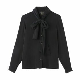 Pussy-Bow Blouse with Long Sleeves