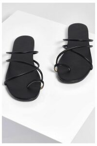 Womens Toe Post Strappy Sliders - Black - 8, Black
