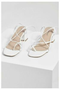 Womens Strappy Low Block Heel Sandals - White - 8, White