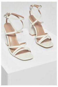 Womens Strappy Block Heel Sandals - White - 7, White