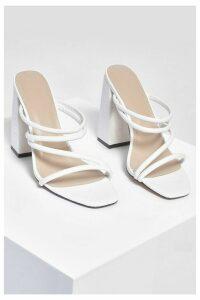 Womens Multi Strap Block Heel Mules - White - 8, White