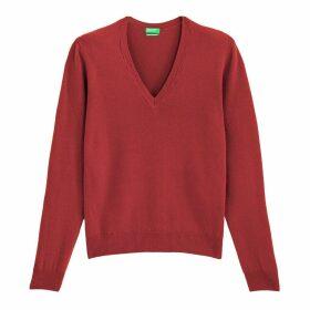 Wool Fine Knit Jumper with V-Neck