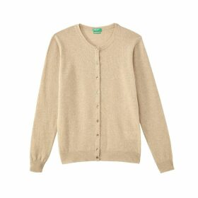 Fine Knit Wool Cardigan with Crew Neck