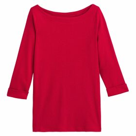 Boat-Neck T-Shirt with 3/4 Sleeves