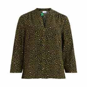 Leopard Print Blouse with 3/4 Length Sleeves