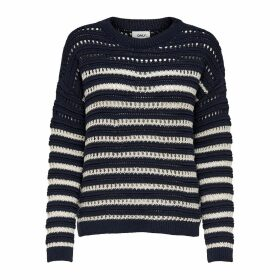 Cotton Mix Breton-Striped Jumper in Chunky Knit