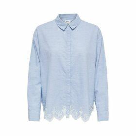 Embroidered Hem Long-Sleeved Blouse
