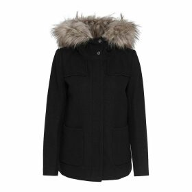 Short Hooded Coat with Removable Fur Trim