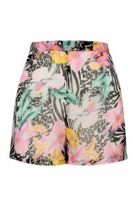 Womens Tropical Animal Beach Shorts - Multi - M, Multi