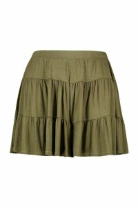 Womens Plus Jersey Tiered Flippy Shorts - Green - 20, Green