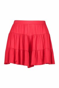 Womens Plus Jersey Tiered Flippy Shorts - 20, Red