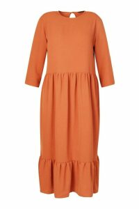 Womens Plus Linen Look Ruffle Tiered Midi Dress - Orange - 26, Orange