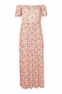 Womens Plus Bardot Maxi Dress - White - 20, White