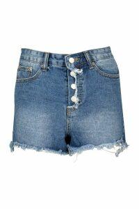 Womens Petite Denim Button Front Shorts - Blue - 14, Blue