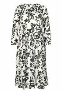 Womens Plus Floral Tiered Midi Dress - White - 20, White