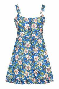 Womens Petite Floral Button Through Dress - Blue - 14, Blue