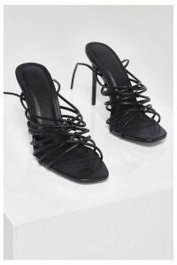 Womens Knot Detail Stiletto Strappy Heels - Black - 3, Black