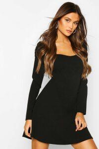 Womens Puff Sleeve Aline Mini Dress - Black - 14, Black