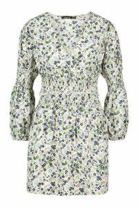 Womens Ditsy Shirred Blouse & Mini Skirt Co-Ord - White - 14, White