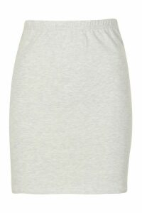 Womens Core Basic Jersey Mini Skirt - Grey - 16, Grey