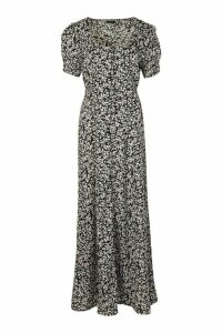 Womens Ditsy Floral Button Puff Sleeve Maxi Dress - Navy - 14, Navy