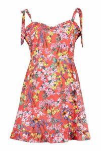 Womens Tropical Floral Tie Shoulder Ruffle Skater Dress - Red - 16, Red