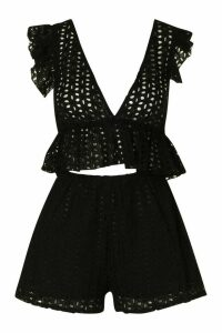 Womens Broiderie Plunge Ruffle Top And Short Co-Ord - Black - 14, Black