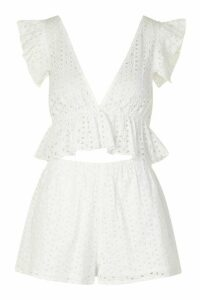 Womens Broiderie Plunge Ruffle Top And Short Co-Ord - White - 14, White