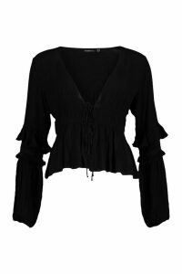 Womens Cheesecloth Tie Front Tassel Sleeve Blouse - Black - 16, Black