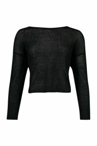 Womens Oversized Box Crop Light Weight Knitted Top - Black - M, Black