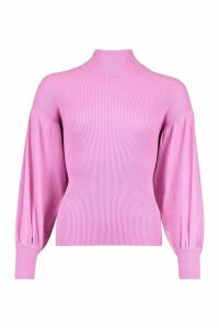 Womens Rib Knit Balloon Sleeve Roll Neck Top - Pink - M, Pink