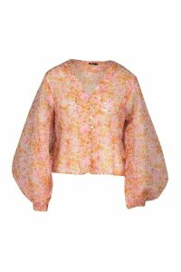 Womens Ditsy Floral Print Pearl Button Blouse - Pink - 14, Pink