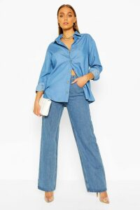 Womens Oversized Chambray Shirt - Blue - 16, Blue