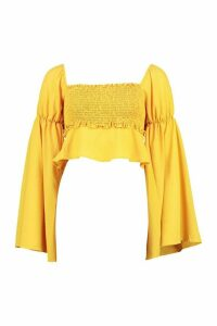 Womens Shirred Bust Flared Sleeve Top - Yellow - 14, Yellow