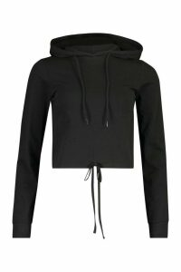 Womens Tie Up Front Hoodie - Black - 16, Black