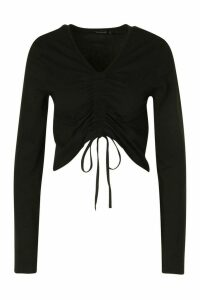 Womens Ruched Tie Up Front Long Sleeve Top - Black - 16, Black