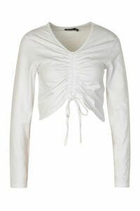 Womens Ruched Tie Up Front Long Sleeve Top - White - 16, White
