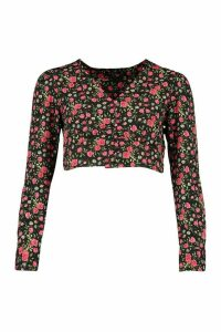Womens Floral Button Through Plunge Blouse - Black - 16, Black